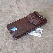 Сумки и аксессуары handmade. Livemaster - original item A smartphone case on a belt with a small wallet and two cards. Handmade.