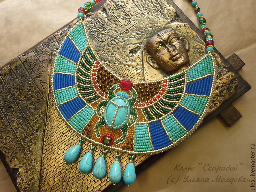 Egyptian collar necklace scarab shop online on livemaster with egyptian scarab necklace bead embroidered necklace exclusive collar necklace beaded jewelry by ulyana aloadofball Choice Image