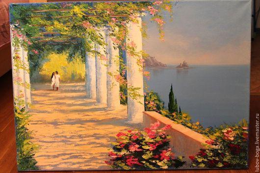 Пейзаж ручной работы. Ярмарка Мастеров - ручная работа. Купить Средиземноморский мотив. Handmade. Картина, вид на море, масляная живопись