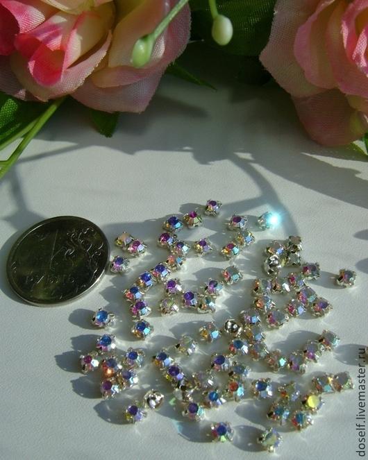 Для украшений ручной работы. Ярмарка Мастеров - ручная работа. Купить SS12(3.2 мм)Пришивные Стразы в серебристых цапах Кристалл АВ. Handmade.