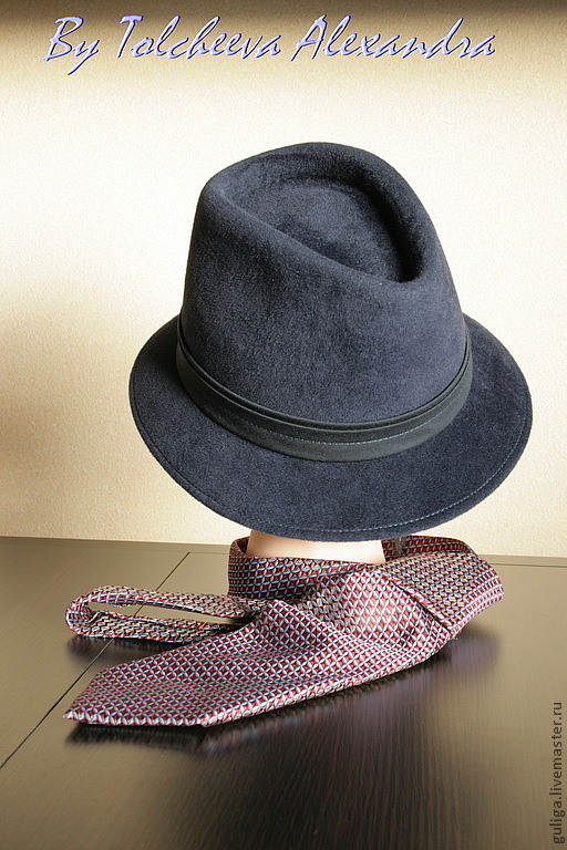 Шляпы ручной работы. Ярмарка Мастеров - ручная работа. Купить Мужская шляпа. Handmade. Тёмно-синий, стильная шляпа