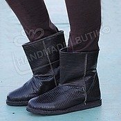 Обувь ручной работы handmade. Livemaster - original item Winter boots made of Lizard UNISEX fur lambskin Black. Handmade.