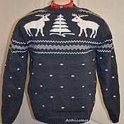 Одежда ручной работы. Ярмарка Мастеров - ручная работа Винтажный свитер с белыми оленями. Handmade.