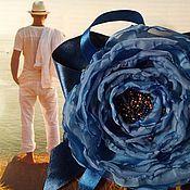 """Украшения ручной работы. Ярмарка Мастеров - ручная работа Брошь цветок роза кобальтовая синяя """"Глубокое синее море"""". Handmade."""
