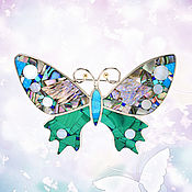 Украшения handmade. Livemaster - original item Brooch BUTTERFLY. Unique brooch with malachite, mother of pearl, turquoise.. Handmade.