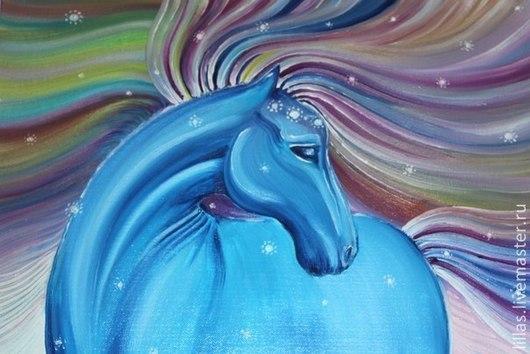Животные ручной работы. Ярмарка Мастеров - ручная работа. Купить Синяя лошадь. Handmade. Лошадь, радуга, символ года