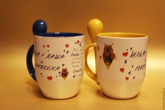 Кружки и чашки ручной работы. Ярмарка Мастеров - ручная работа. Купить Керамическая кружка с ложкой. Handmade. Разноцветный, кружка