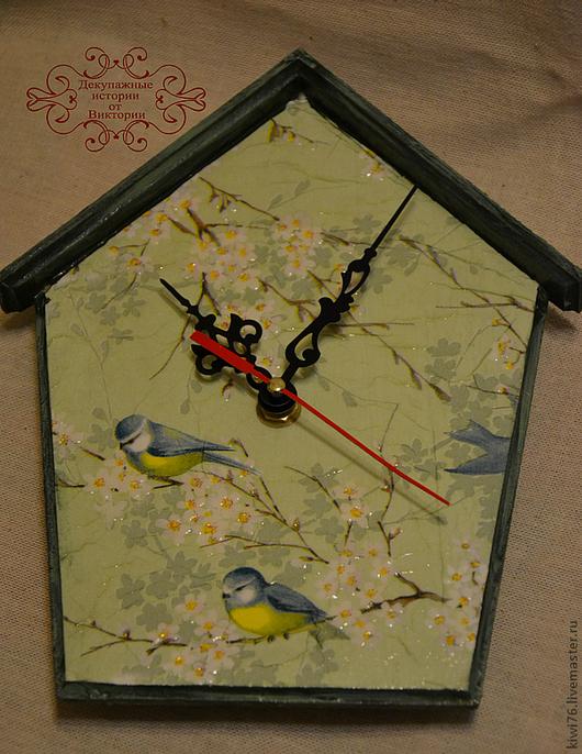 """Часы для дома ручной работы. Ярмарка Мастеров - ручная работа. Купить Часы """"Снова Весна!"""". Handmade. Салатовый, весна, дерево"""