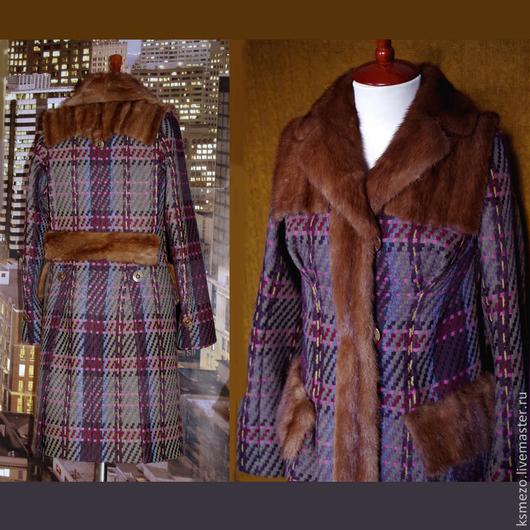 """Верхняя одежда ручной работы. Ярмарка Мастеров - ручная работа. Купить Пальто утеплённое """"Шотландский тартан""""с норковым воротником и кокеткой. Handmade."""