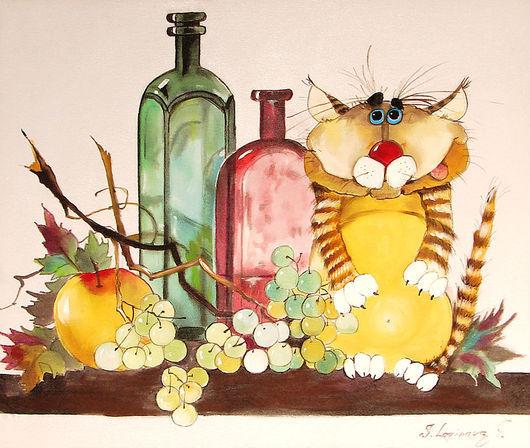 """Натюрморт ручной работы. Ярмарка Мастеров - ручная работа. Купить Принт на холсте """"Натюрморт с котом"""". Handmade. Подарок с юмором"""