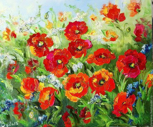 Картины цветов ручной работы. Ярмарка Мастеров - ручная работа. Купить Маки. Handmade. Ярко-красный, подарок, цветы