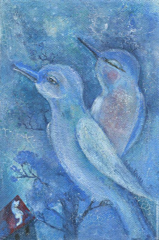 Песенка для любимой. Весенняя картина-настроение из триптиха `Белый котик`. Весенняя синяя сказка. Сказка в теплоте рук Алёны Коневой