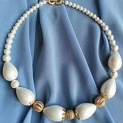 Украшения handmade. Livemaster - original item A necklace of pearls of Majorca gold plated with cubic Zirconia. Handmade.