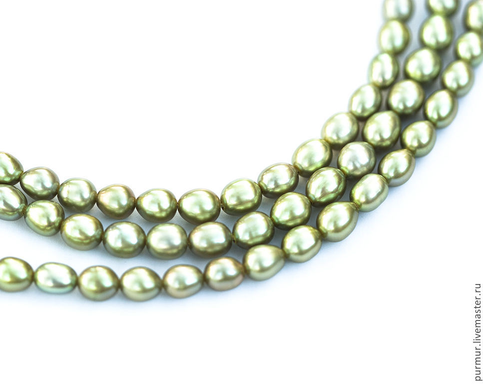1146_Жемчуг rice 5 mm, pastel green pearls, pearl bracelet, Beads1, Ioannina,  Фото №1