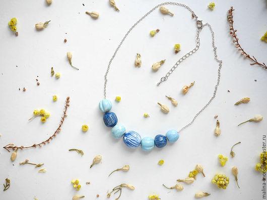 """Колье, бусы ручной работы. Ярмарка Мастеров - ручная работа. Купить Бусы """"Любимые"""" 3. Handmade. Голубой, украшение, Керамика"""