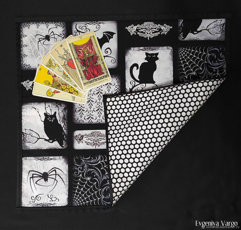 Чёрная скатерть для гаданий на Таро с кошкой, пауками, совой, Коврик для гадания, Брянск,  Фото №1