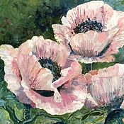 "Картины и панно handmade. Livemaster - original item Oil painting on canvas ""Pink Poppies"". Handmade."
