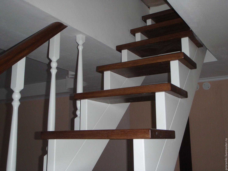 ручной работы. Ярмарка Мастеров - ручная работа. Купить Лестница на косоурах (часть 3). Handmade. Коричневый, дуб, массив дерева