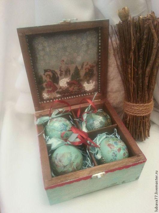 """Новый год 2017 ручной работы. Ярмарка Мастеров - ручная работа. Купить """" Бирюзовый набор"""", 4 шарика с конфетками в коробе. Handmade."""
