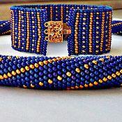 Украшения ручной работы. Ярмарка Мастеров - ручная работа Синее с золотом колье. Handmade.