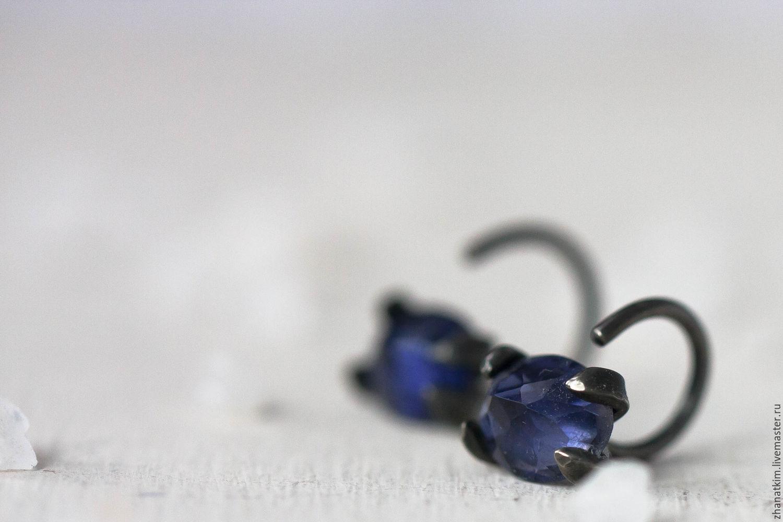 Sterling silver earrings with iolite – Oxidized silver studs, Stud earrings, Almaty,  Фото №1