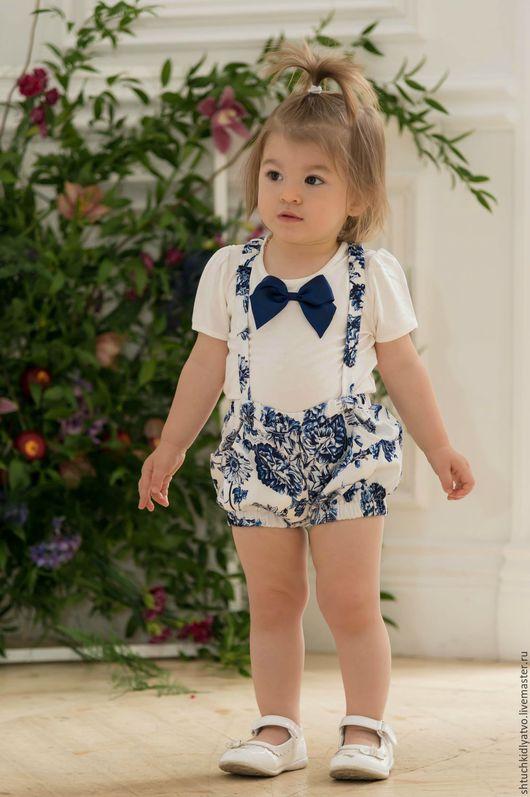"""Одежда для девочек, ручной работы. Ярмарка Мастеров - ручная работа. Купить Комплект для малышки """"Гжель"""". Handmade. Комбинированный, комбинезон, лереде"""