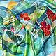 """Шарфы и шарфики ручной работы. Ярмарка Мастеров - ручная работа. Купить Шёлковый шарф """"Красные цветы"""". Handmade. Шелковый шарф"""
