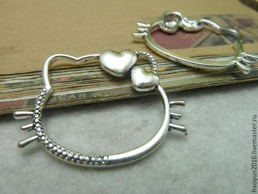 Для украшений ручной работы. Ярмарка Мастеров - ручная работа. Купить 5 шт металлические подвески старинное серебро кот c6938. Handmade.