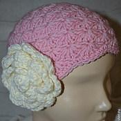 Работы для детей, ручной работы. Ярмарка Мастеров - ручная работа Вязанная шапка для девочки с цветком. Handmade.