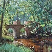 Картины и панно ручной работы. Ярмарка Мастеров - ручная работа Картина летний  пейзаж лес речка мост живопись маслом. Handmade.