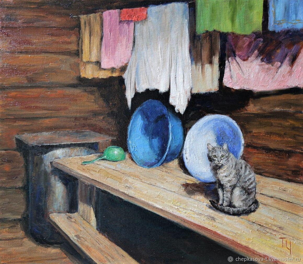 Серия «Деревенская мозаика» №5: Банный кот. Масло, холст на оргалите, Картины, Москва, Фото №1