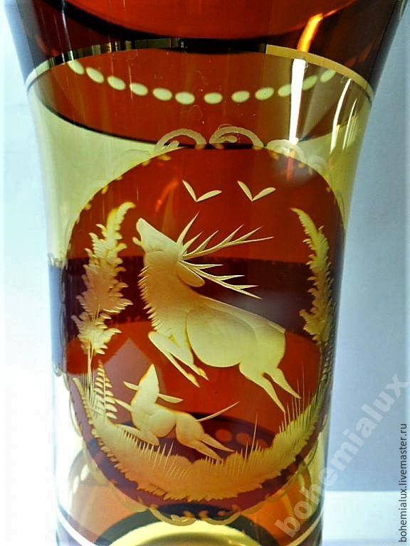 Vase engraved gold Egermann Egermann Czechoslovakia 1950, Vintage interior, Prague,  Фото №1