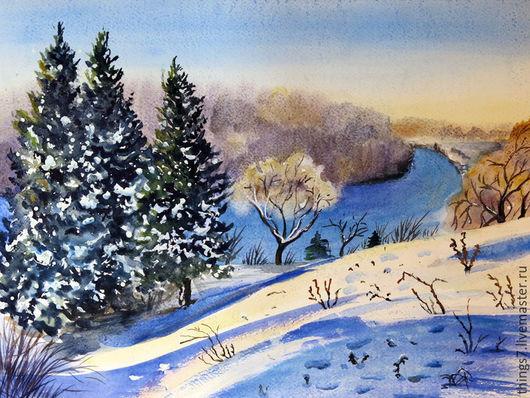 Пейзаж ручной работы. Ярмарка Мастеров - ручная работа. Купить Зимнее солнце. Handmade. Синий, зима, река, Снег, деревья