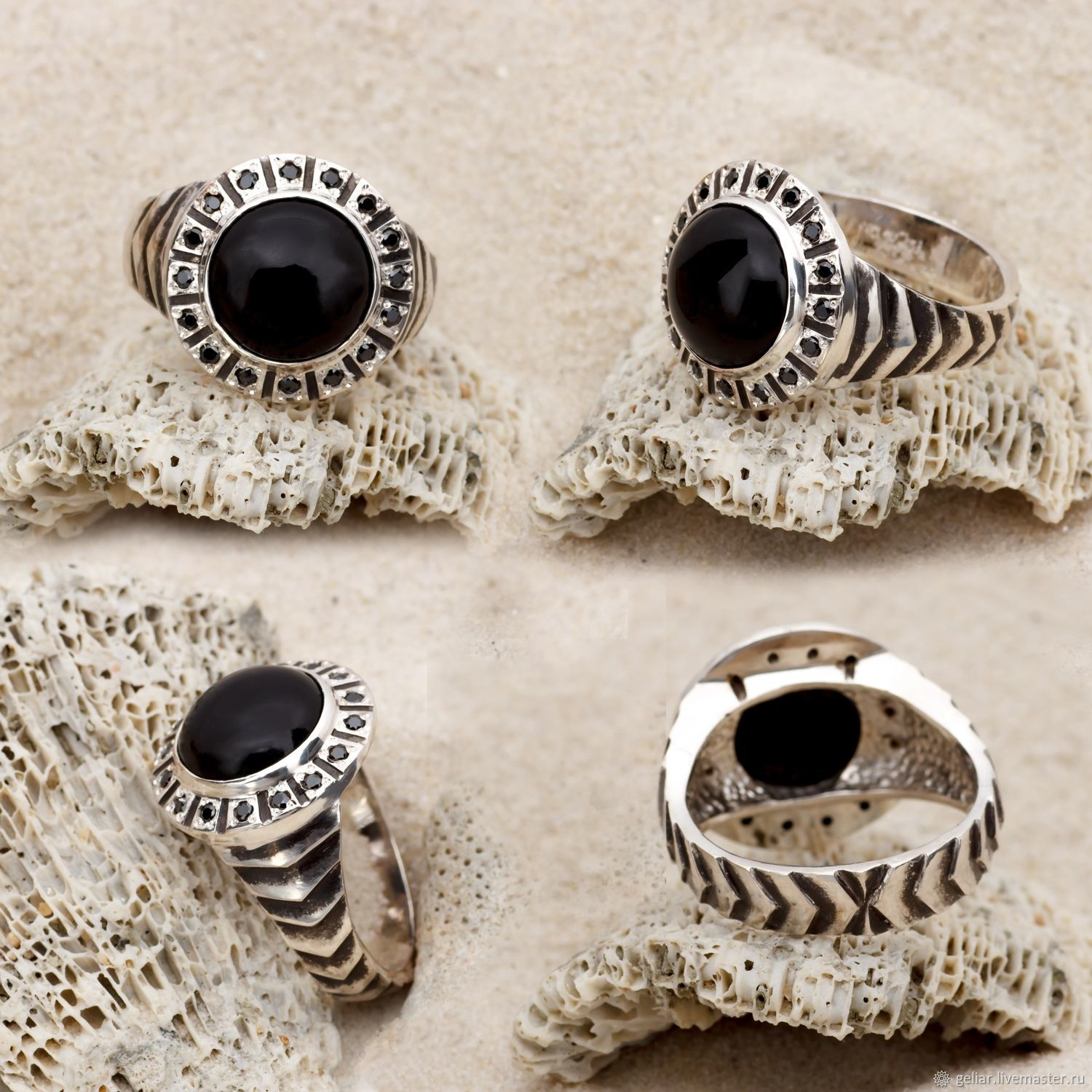Men's ring with black agate ' Valor'. Handmade, Rings, Tomsk,  Фото №1