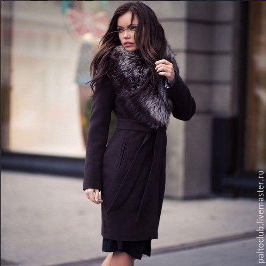 Верхняя одежда ручной работы. Ярмарка Мастеров - ручная работа. Купить Пальто с мехом чернобурки. Handmade. Черный, пальто с мехом