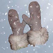 Аксессуары ручной работы. Ярмарка Мастеров - ручная работа Валяные варежки Снегопад. Handmade.