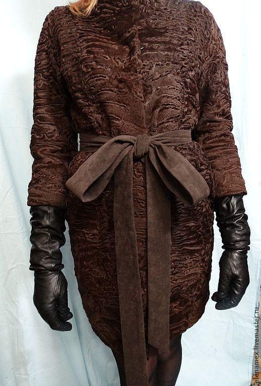 Верхняя одежда ручной работы. Ярмарка Мастеров - ручная работа. Купить Пальто из каракуля swakara. Handmade. Коричневый, стиль Шанель
