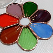 Витражи ручной работы. Ярмарка Мастеров - ручная работа Витражный цветик - семицветик. Handmade.