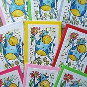 Открытки ручной работы. Ярмарка Мастеров - ручная работа Мини-открытка Счастливая Коровка. Handmade.