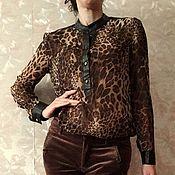 Одежда ручной работы. Ярмарка Мастеров - ручная работа блузка с леопардовым принтом. Handmade.
