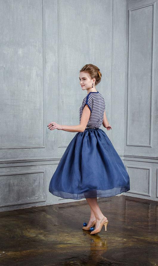 Юбки ручной работы. Ярмарка Мастеров - ручная работа. Купить Синяя шелковая юбка из органзы. Handmade. Тёмно-синий