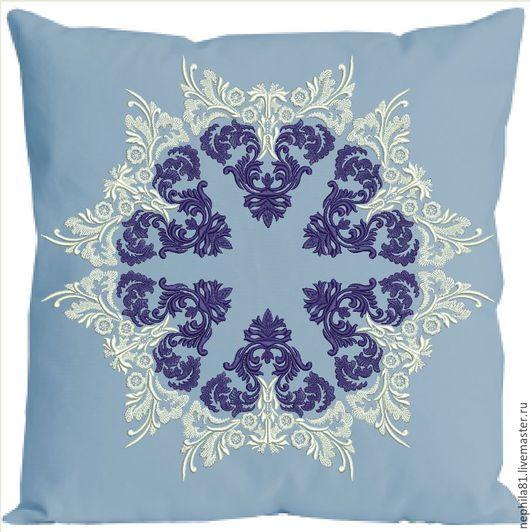 Текстиль, ковры ручной работы. Ярмарка Мастеров - ручная работа. Купить Декоративная подушка. Handmade. Синий, вышитая подушка