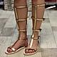 Римские Сандалии Гладиаторы из кожи Открытые без молнии Золотые.jpg