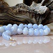 Украшения handmade. Livemaster - original item Blue agate beads. Handmade.