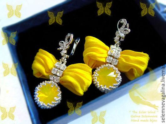 Серьги ручной работы. Ярмарка Мастеров - ручная работа. Купить Серьги с лентой шибори кристаллами swarovski желтые серебряные Бантики. Handmade.