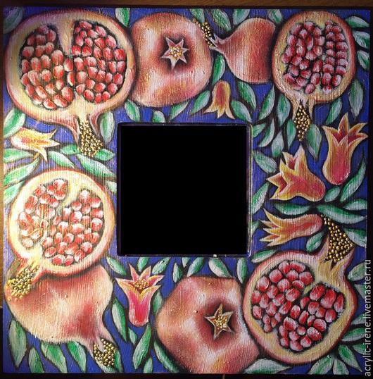Зеркала ручной работы. Ярмарка Мастеров - ручная работа. Купить Зеркало Гранаты. Handmade. Разноцветный, акриловые краски, Живопись