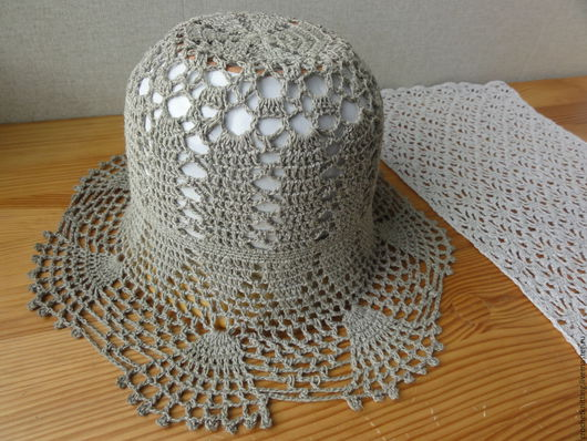 Шляпы ручной работы. Ярмарка Мастеров - ручная работа. Купить Шляпа из льна связана крючком. Handmade. Лен, шляпа из льна