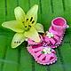 Для новорожденных, ручной работы. Ярмарка Мастеров - ручная работа. Купить Пинетки сандалии купить летние вязаные  крючком Розовый зеленый флора. Handmade.