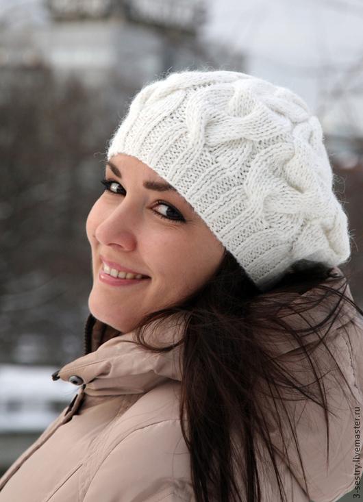 Шапка берет, берет вязаный, берет женский, берет белый, шапка белая, шапка женская, шапка вязаная женская.