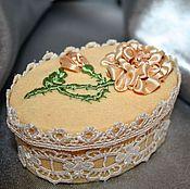 "Для дома и интерьера handmade. Livemaster - original item Box, flowers, ribbon, jewelry box with flowers ""a Small miracle"". Handmade."